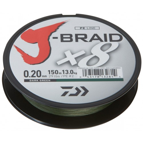 Daiwa J-Braid X8 - Dark Green 150mtr.